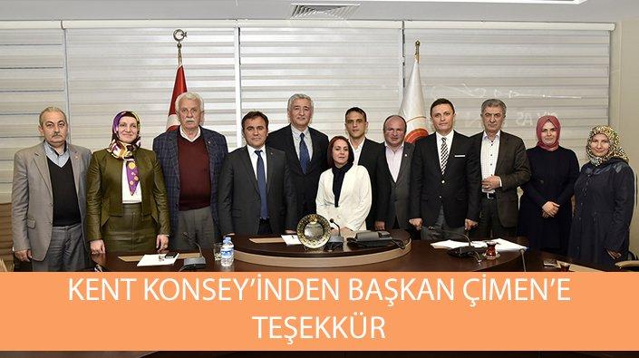 Kent Konseyi'nden Başkan Çimen'e teşekkür