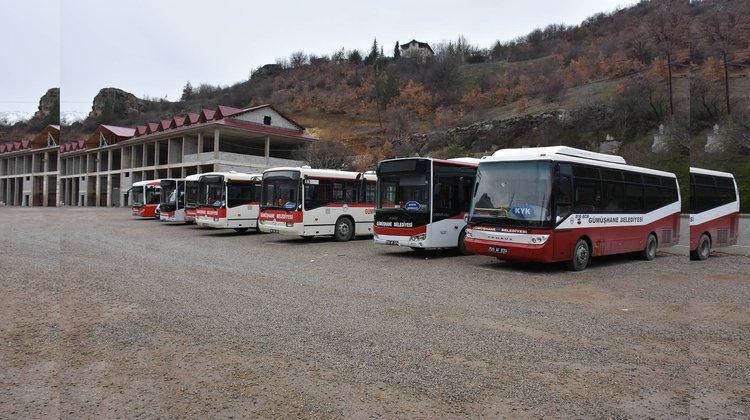 Gümüşhane'de toplu taşıma araçları dezenfekte edildi.